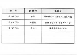 診療予定H31.1月
